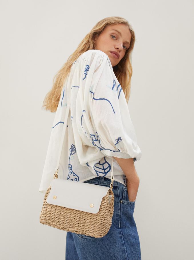 Woven Crossbody Bag, Ecru, hi-res