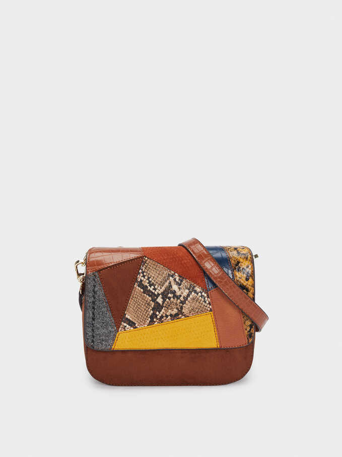 Patchwork Design Crossbody Bag, Camel, hi-res