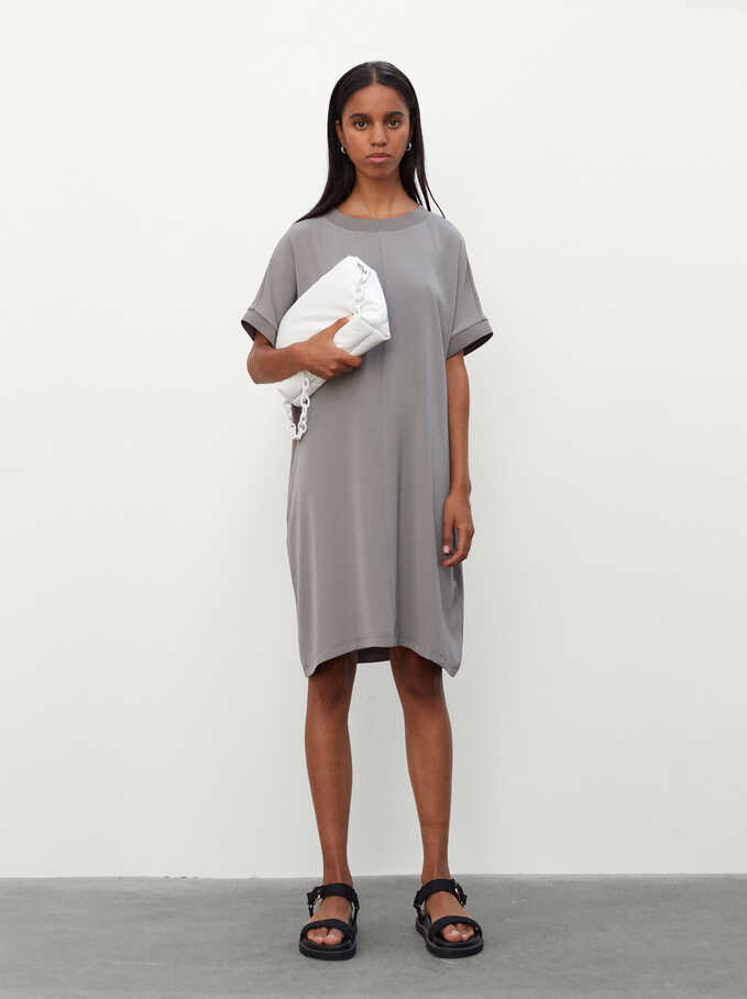 Plain Dress With Round Neck And Short Sleeve, Grey, hi-res