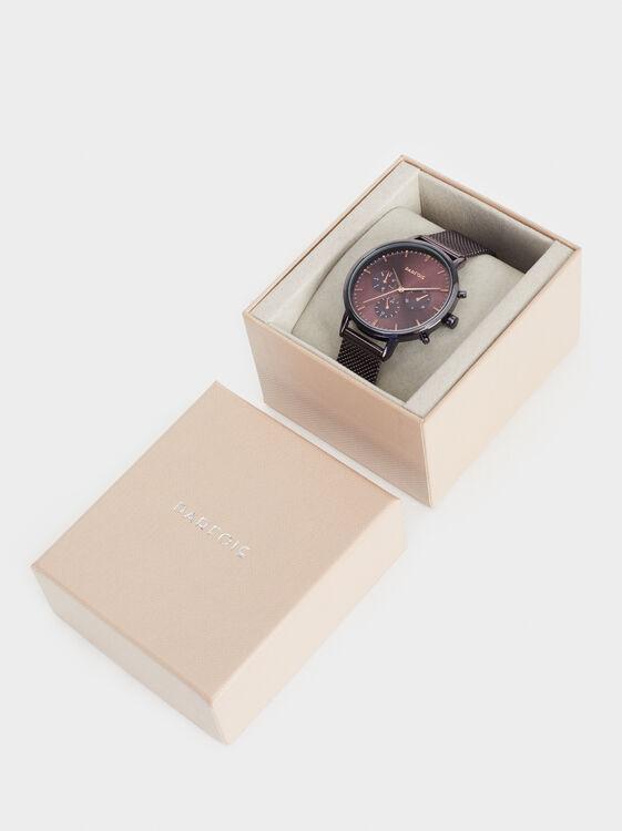 Chronograph Dial Watch, Bordeaux, hi-res