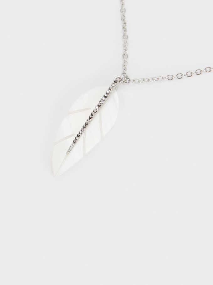 Short Leaf Necklace, Silver, hi-res