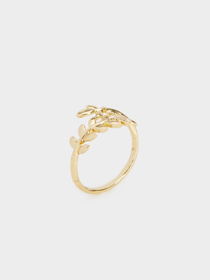 Criss-Cross Leaf Ring, Golden, hi-res
