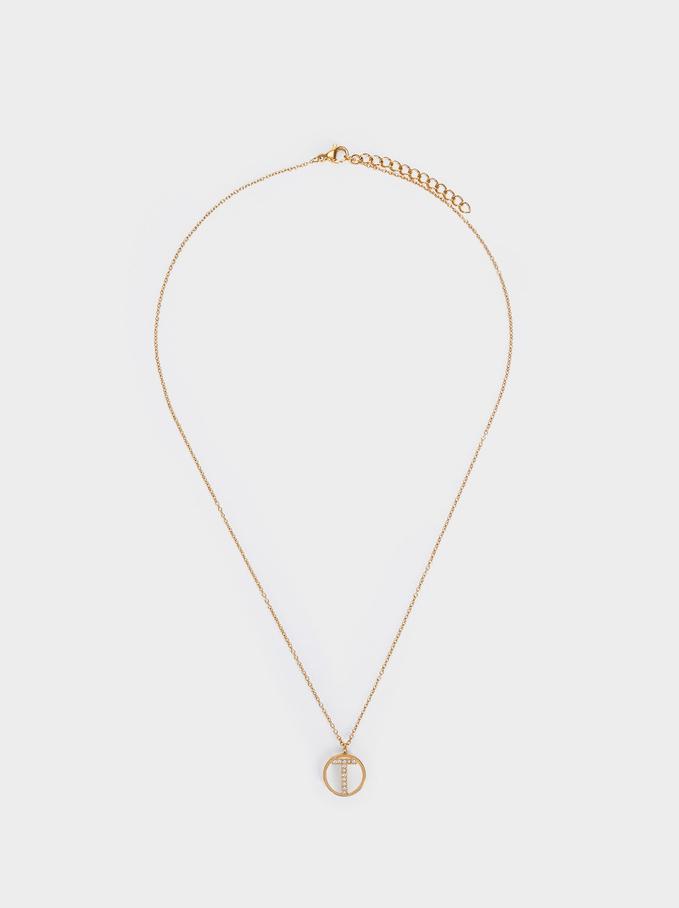Short Steel Necklace With Letter T, Golden, hi-res