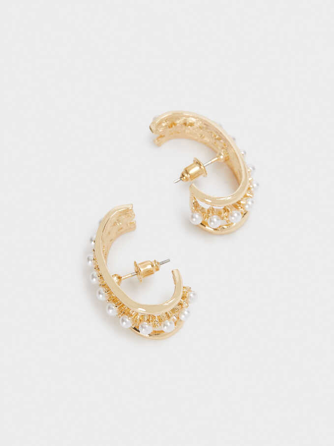 Small Earrings With Faux Pearl, White, hi-res