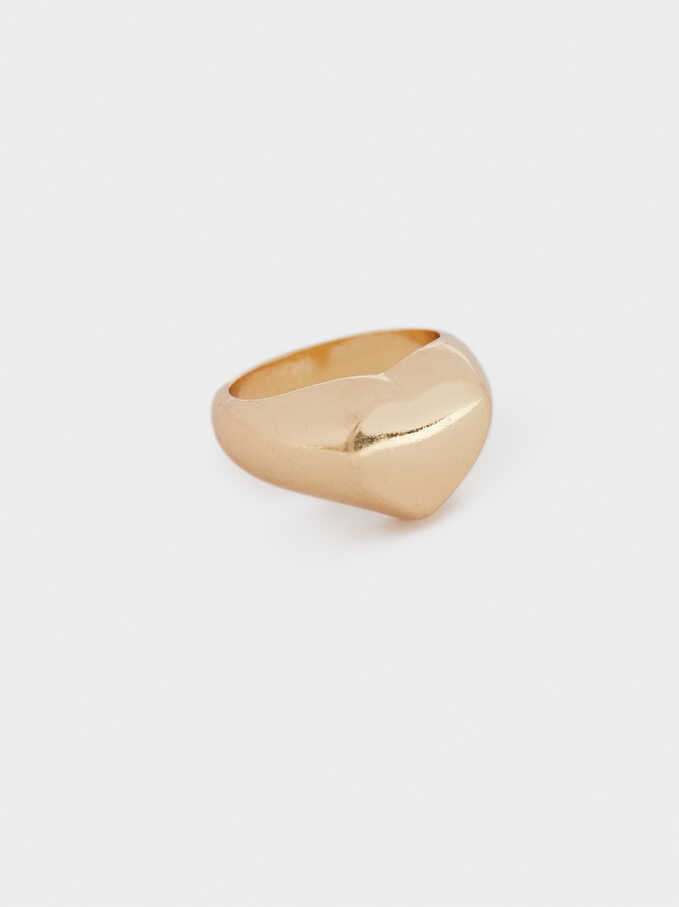 Gold Heart Signet Ring, Golden, hi-res