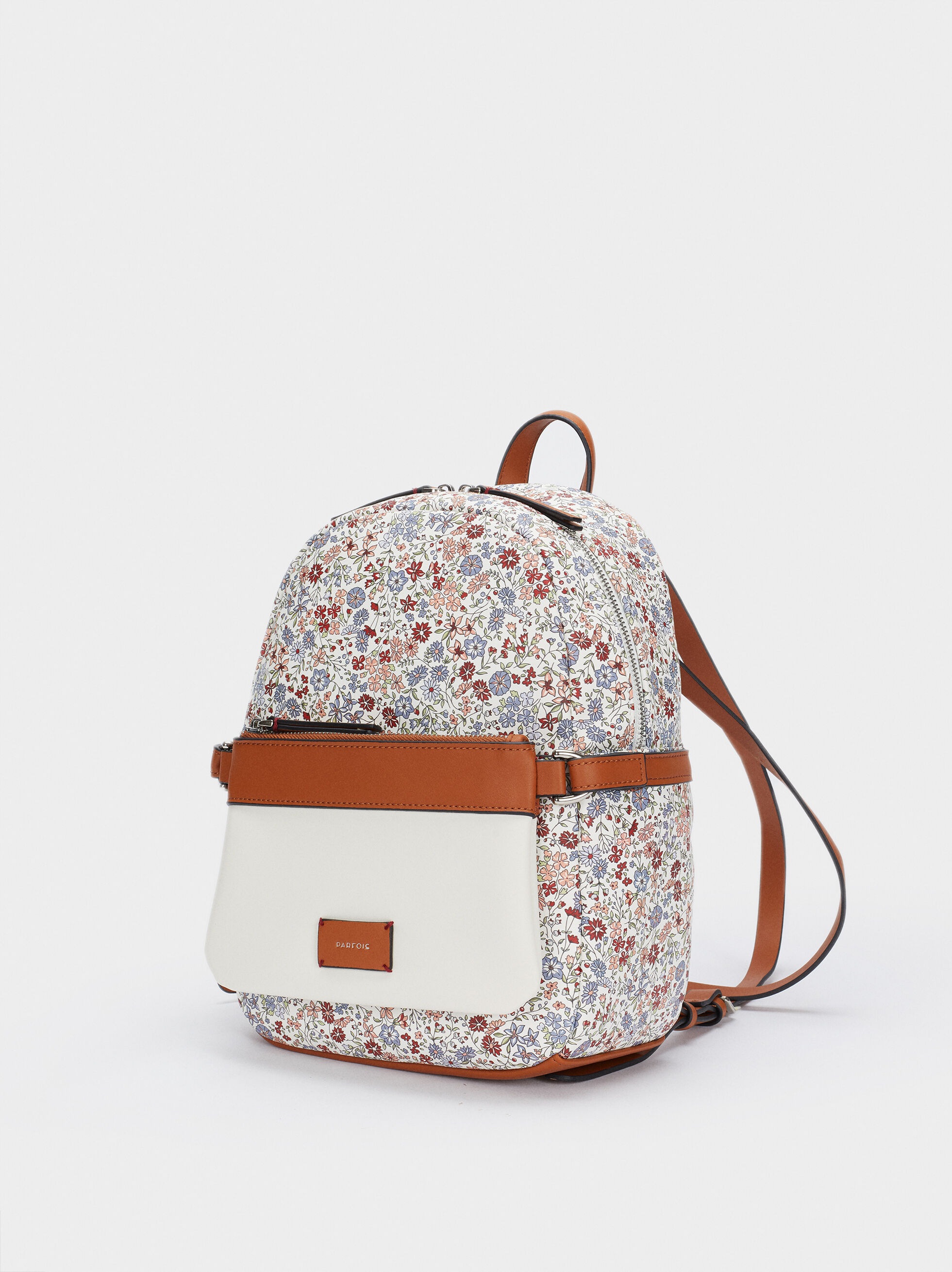 Floral Print Backpack, Blue, hi-res