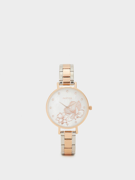 Watch With Floral Dial Detail, Orange, hi-res