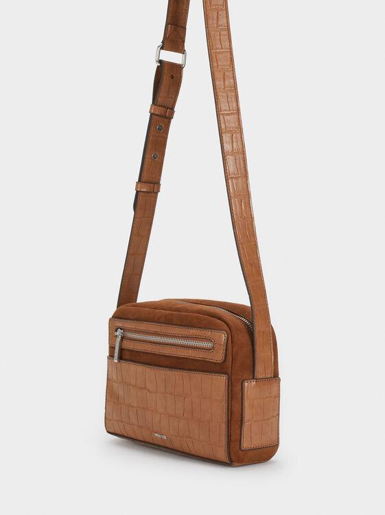 Animal Embossed Shoulder Bag, Camel, hi-res