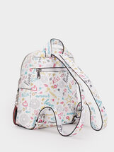We Are Love Print Backpack, White, hi-res