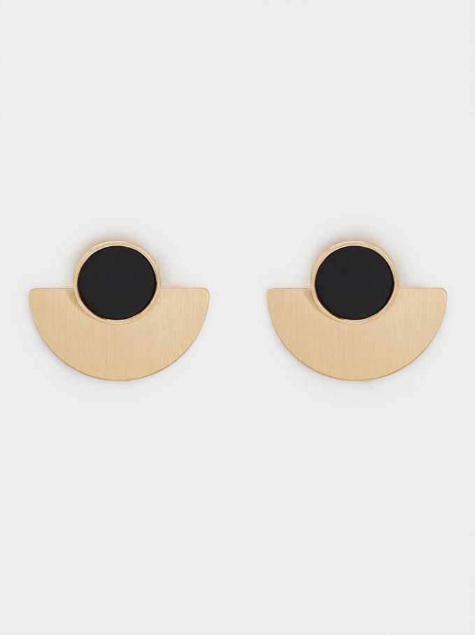Short Detachable Earrings, Black, hi-res