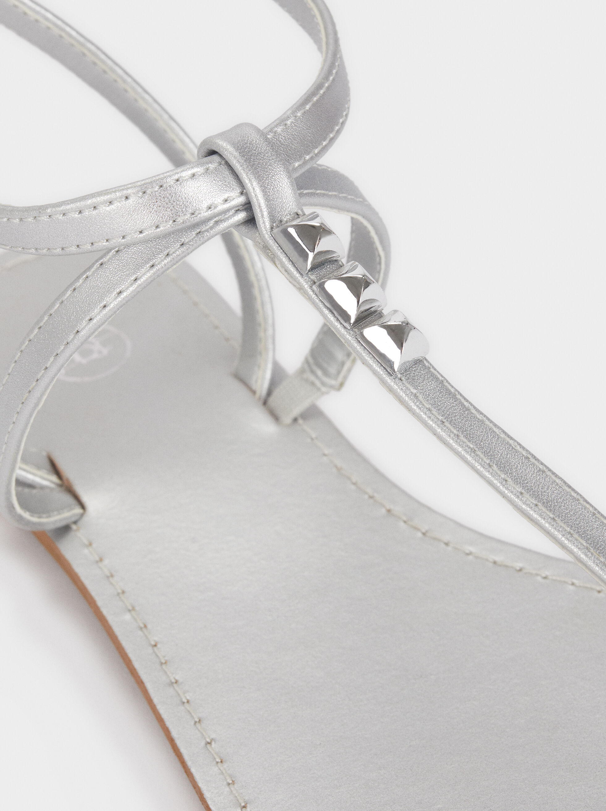Flat Sandals With Stud Details, Silver, hi-res