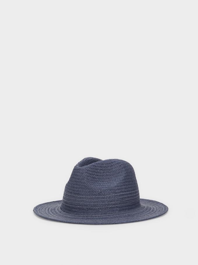 Sombrero Textura Rafia, Azul, hi-res