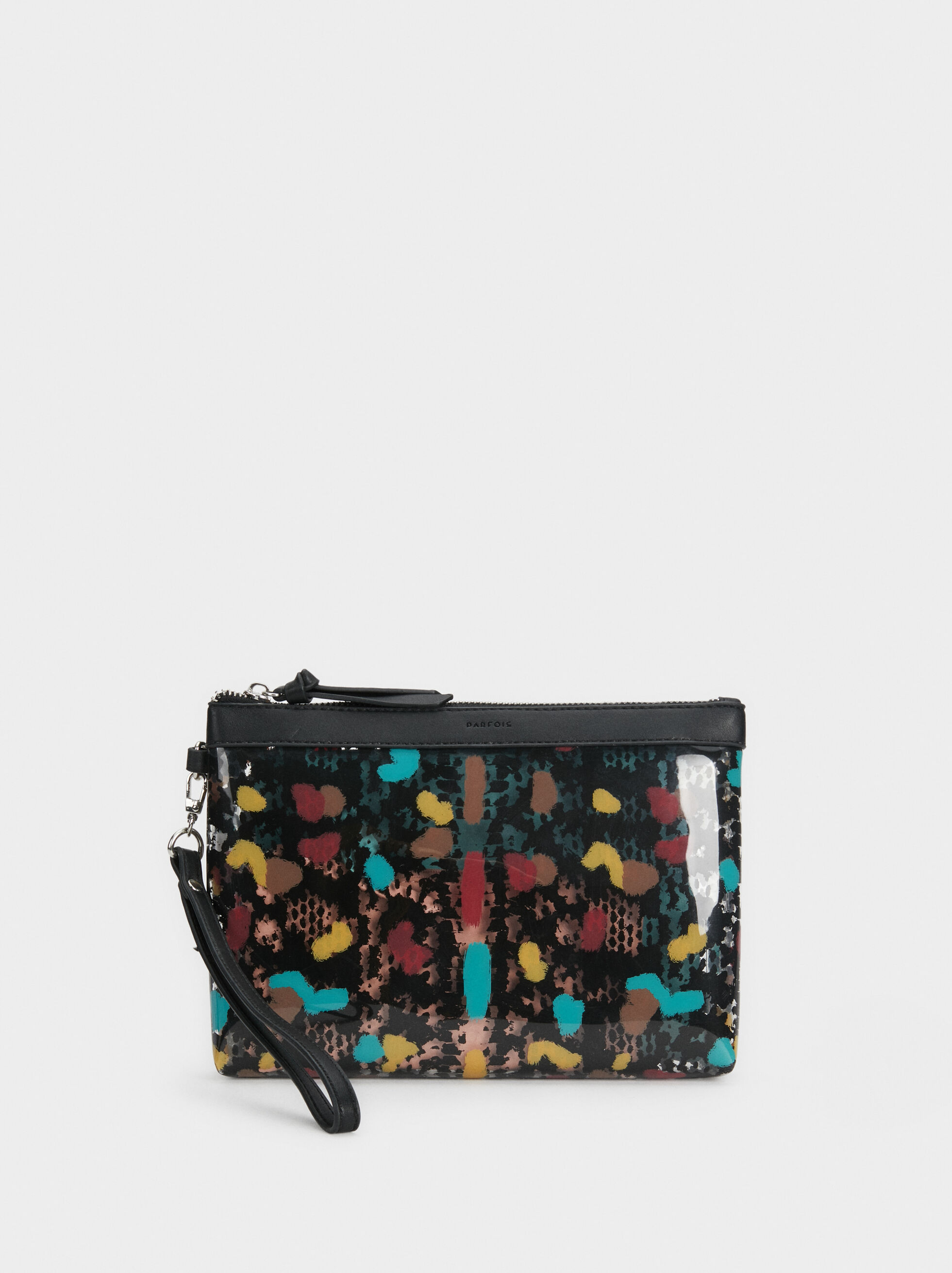 Vinyl Toiletry Bag, Black, hi-res