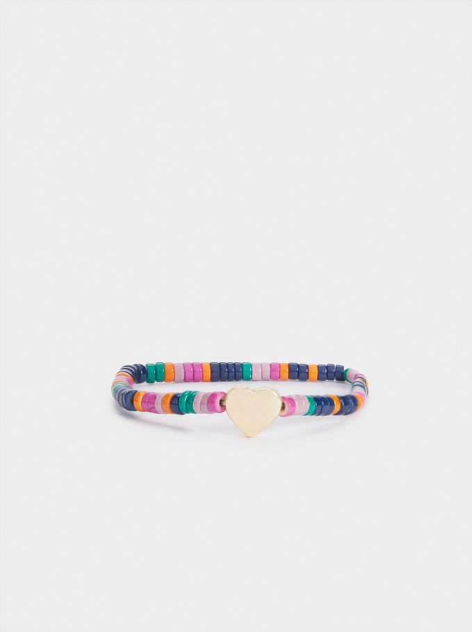 Elastic Bracelet With Stones And Heart, Multicolor, hi-res