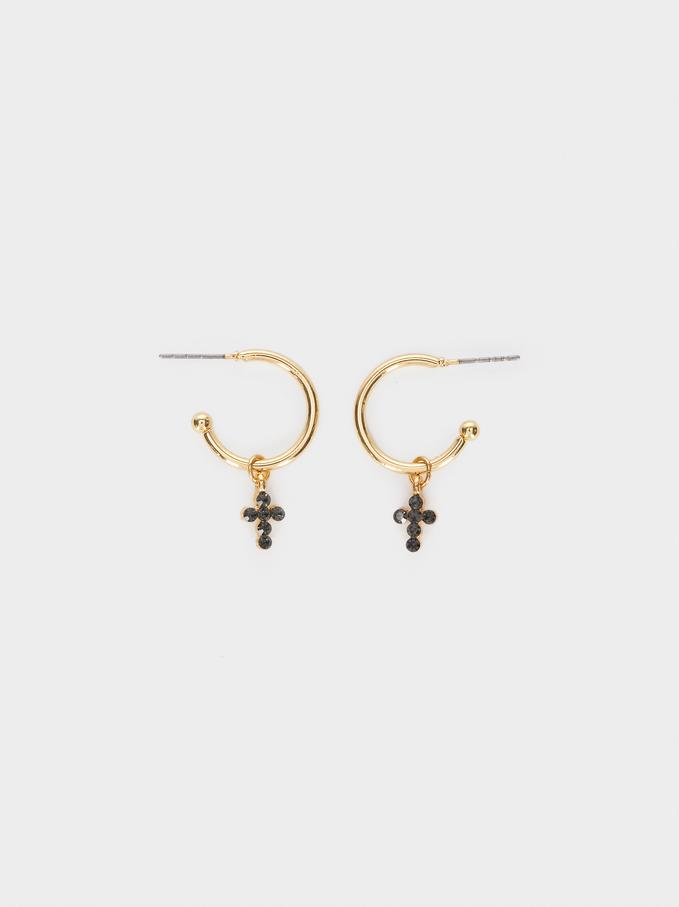 Short Gold Cross Earrings, Golden, hi-res