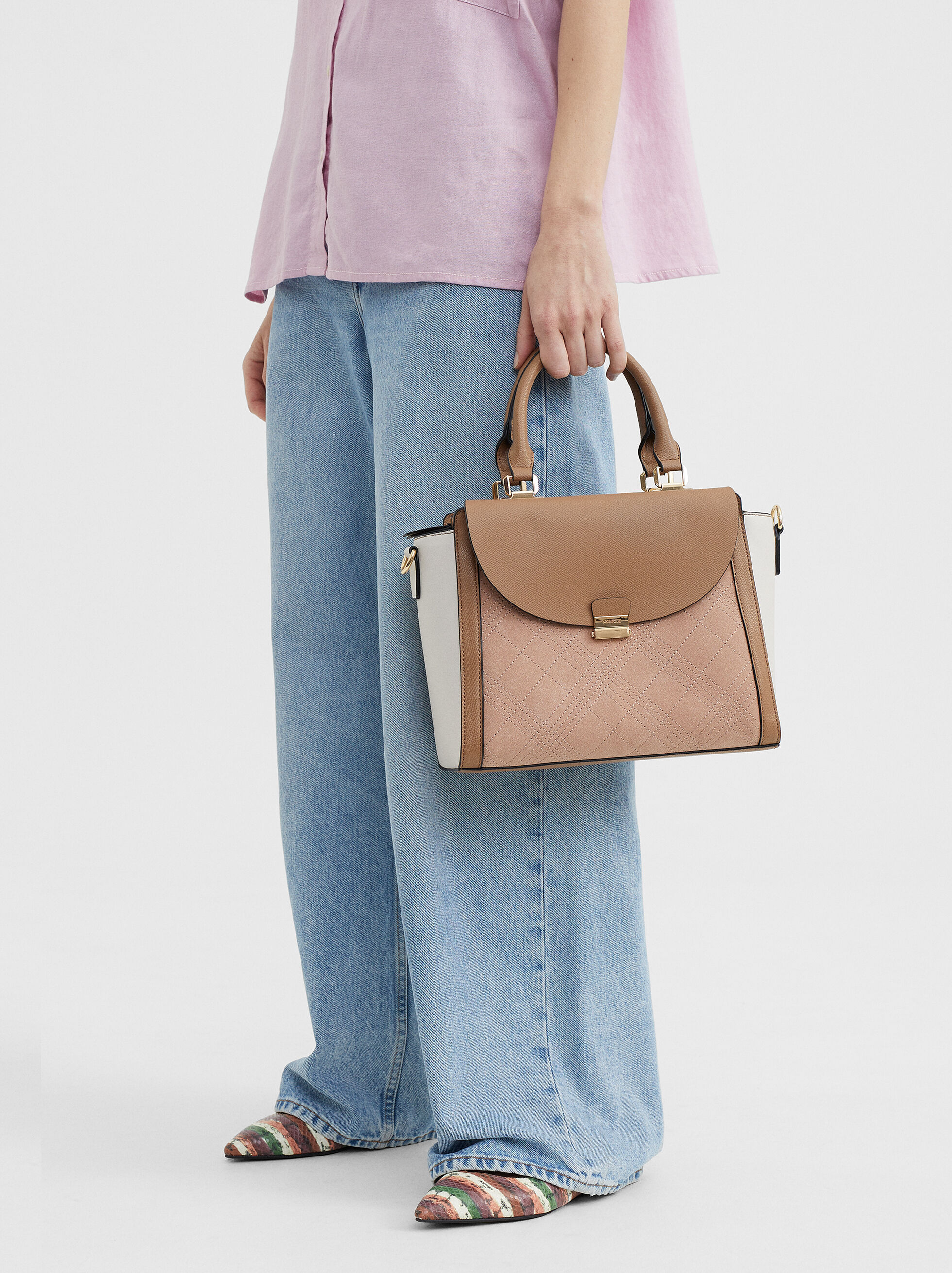 Tote Bag With Topstitching, Pink, hi-res