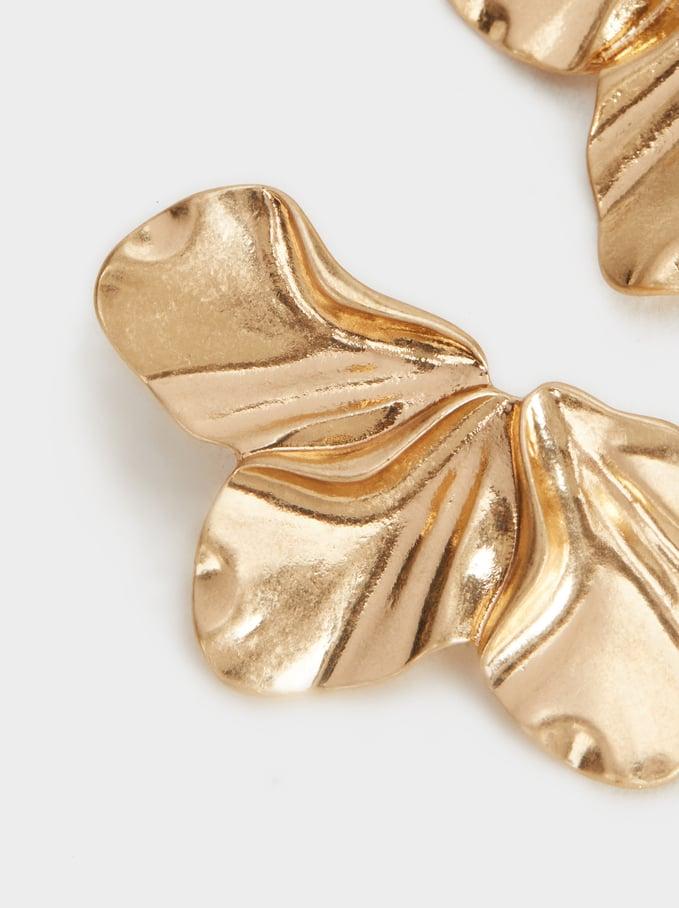 Gold Flower Earrings, Golden, hi-res