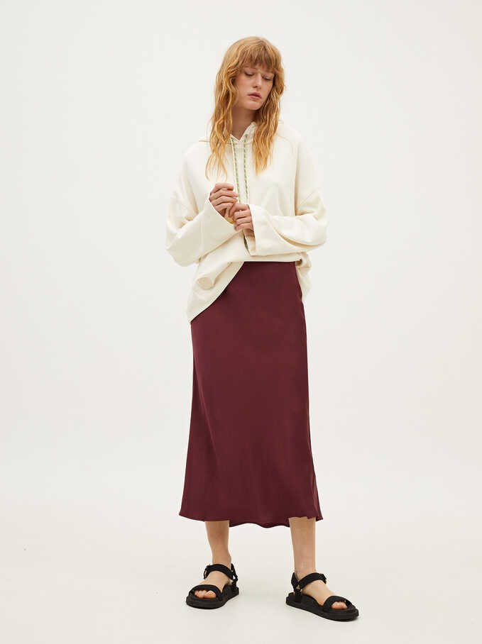 Limited Edition Long Skirt With Elastic Waistband, Bordeaux, hi-res