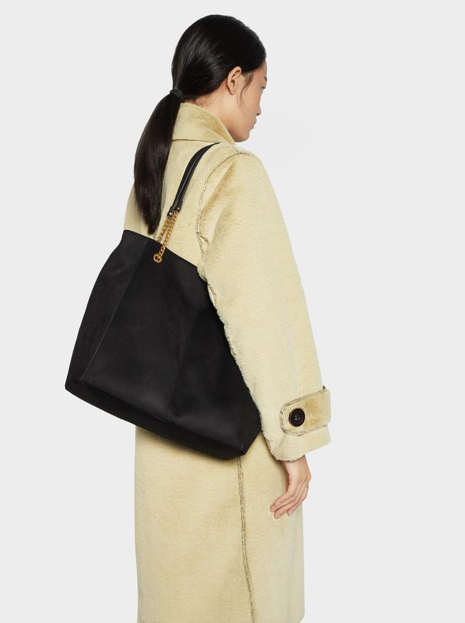 Textured Suede Tote Bag, Black, hi-res