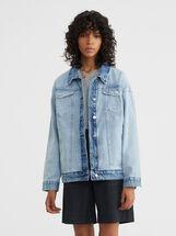 Oversized Denim Jacket, Blue, hi-res