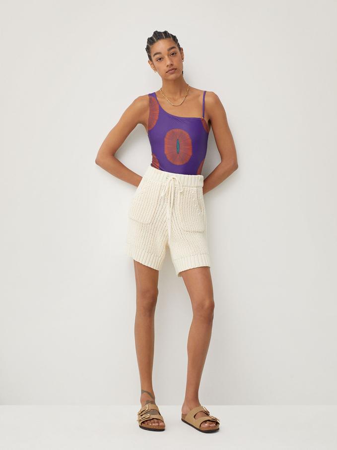 Asymmetric Swimsuit With Detachable Strap, Purple, hi-res