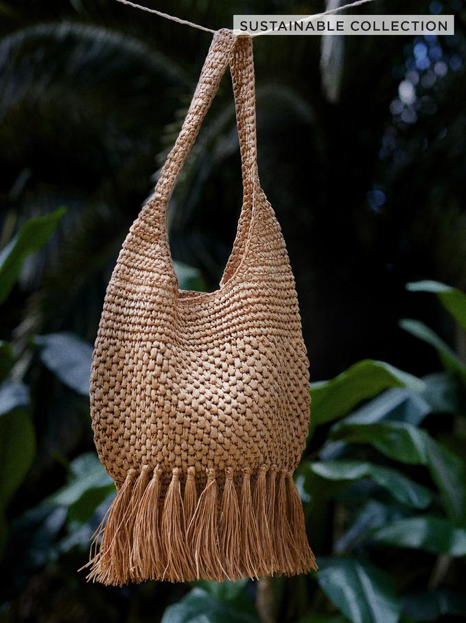 Woven Shopper Bag With Fringes, Beige, hi-res