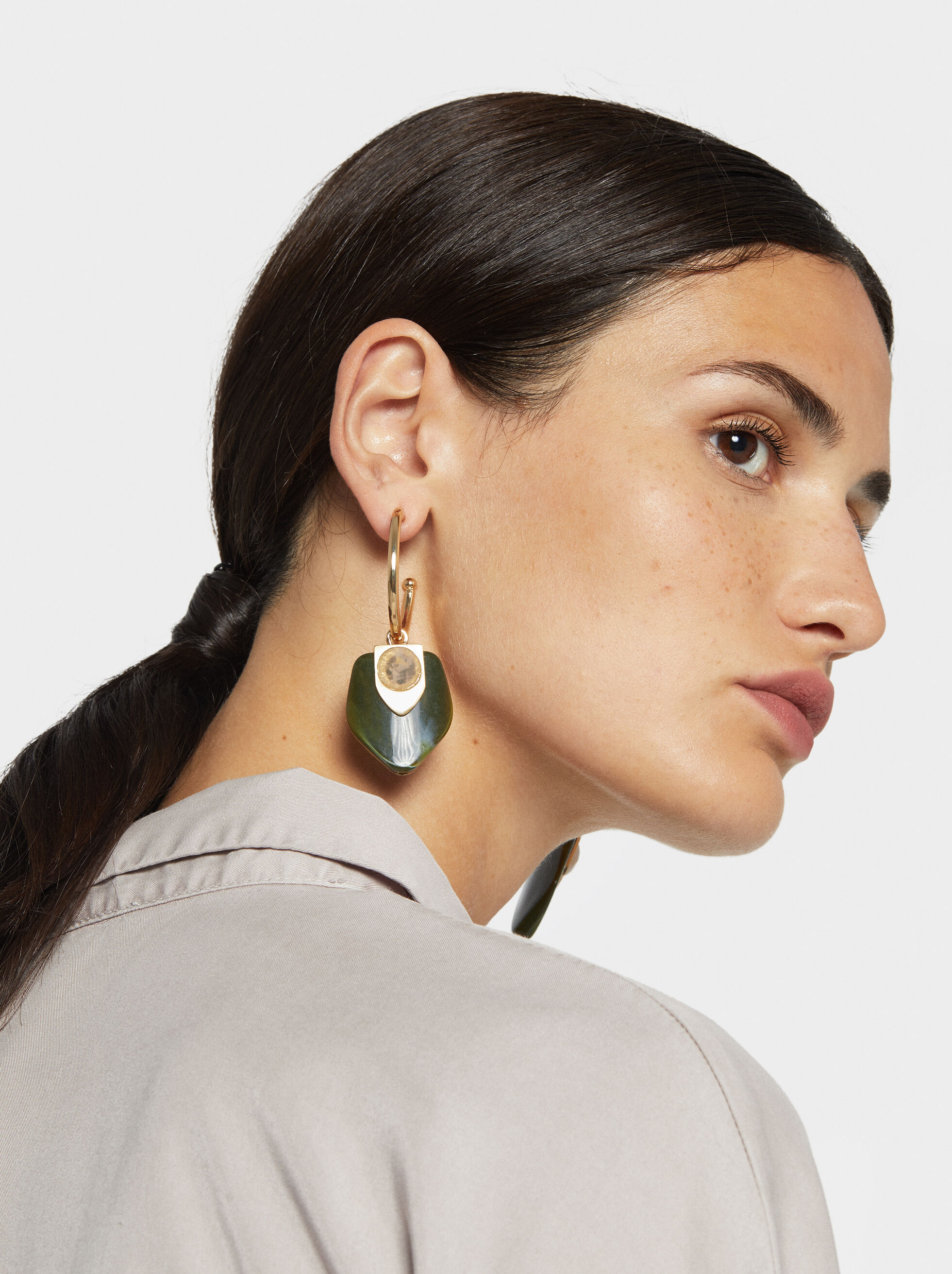 Stone Story Medium Stone Hoop Earrings, Multicolor, hi-res