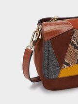 Patchwork Design Crossbody Bag, Camel, hi-res