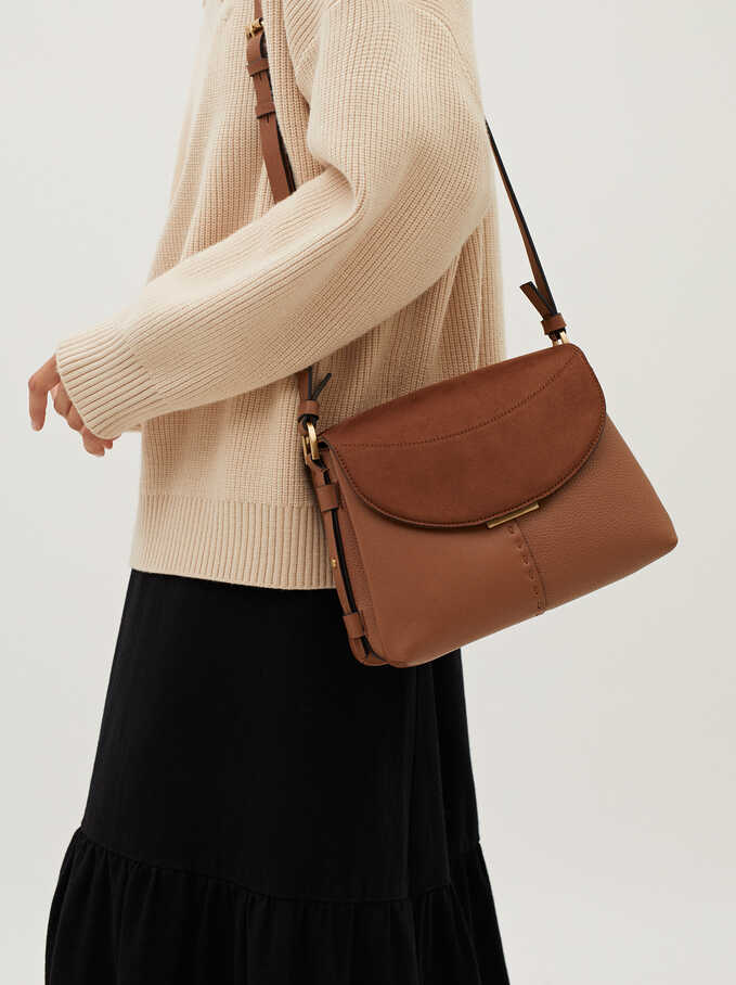 Faux Suede Crossbody Bag With Flap Closure, Camel, hi-res