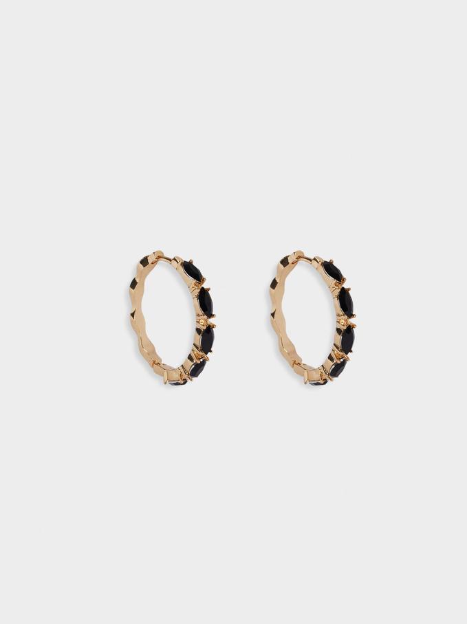 Resin Hoop Earrings, Black, hi-res