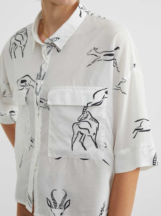Camisa Estampado Animales, Blanco, hi-res