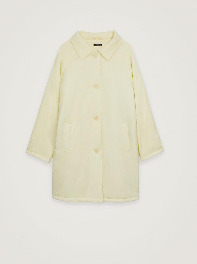 Nylon Coat With Pockets, Yellow, hi-res