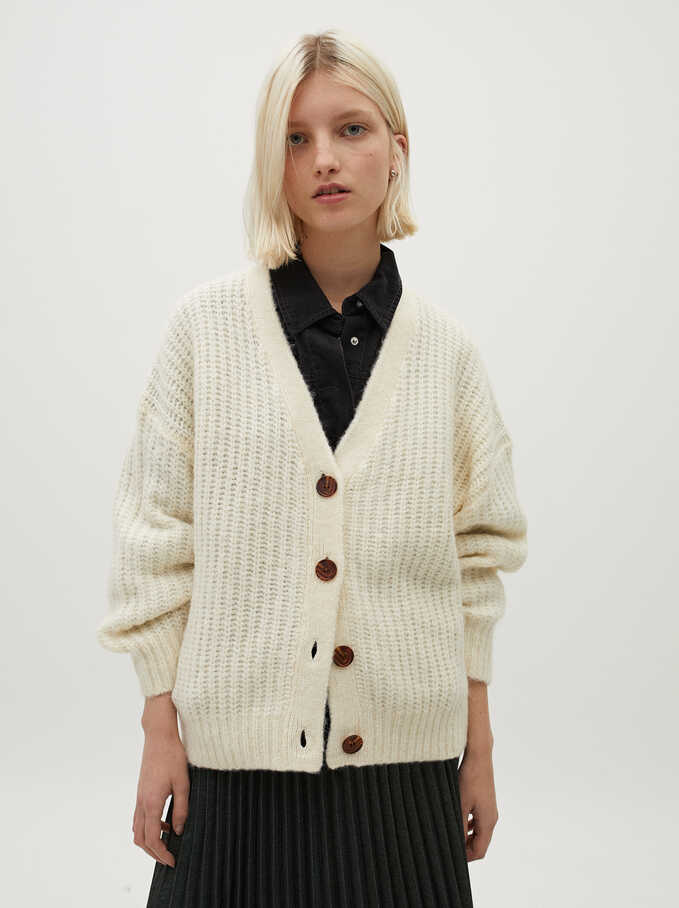 Knitted Cardigan With Buttons, Ecru, hi-res