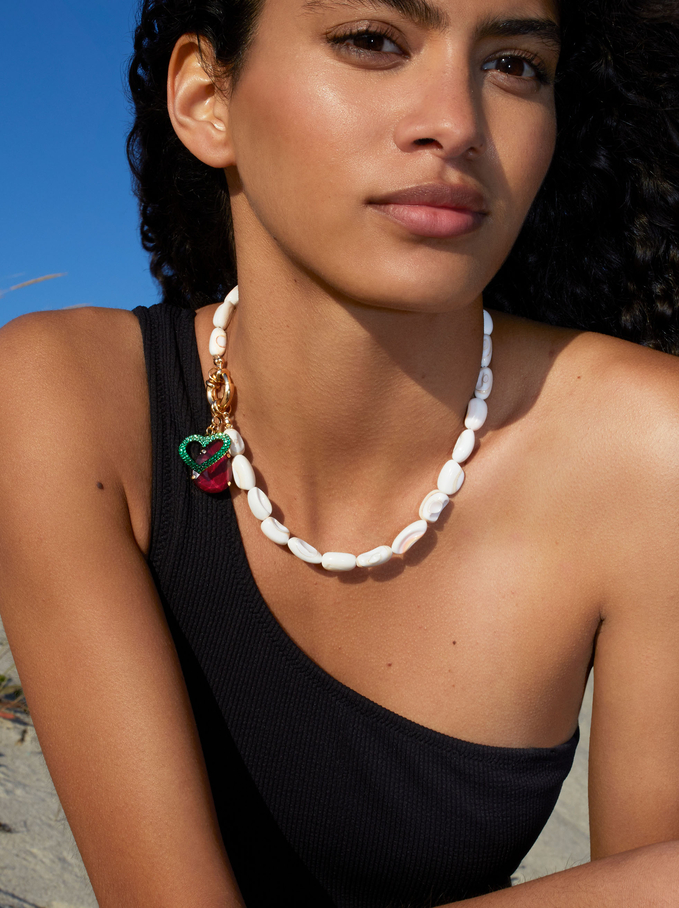 Short Necklace With Shell And Heart, Multicolor, hi-res