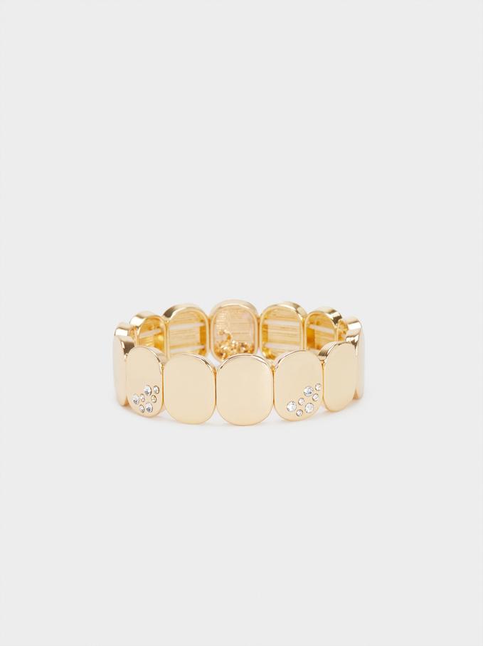 Bracelet Élastique À Brillants, Doré, hi-res
