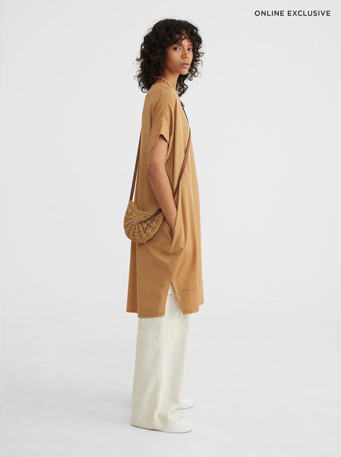 Vestido Com Decote Redondo Online Exclusive, Camel, hi-res