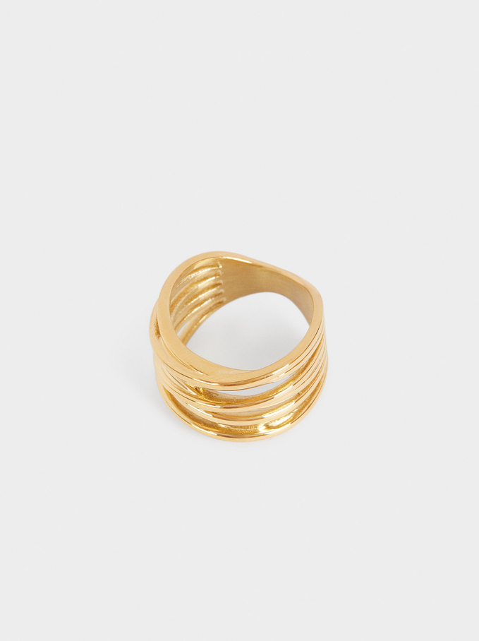 Steel Ring With Intertwined Bands, Golden, hi-res