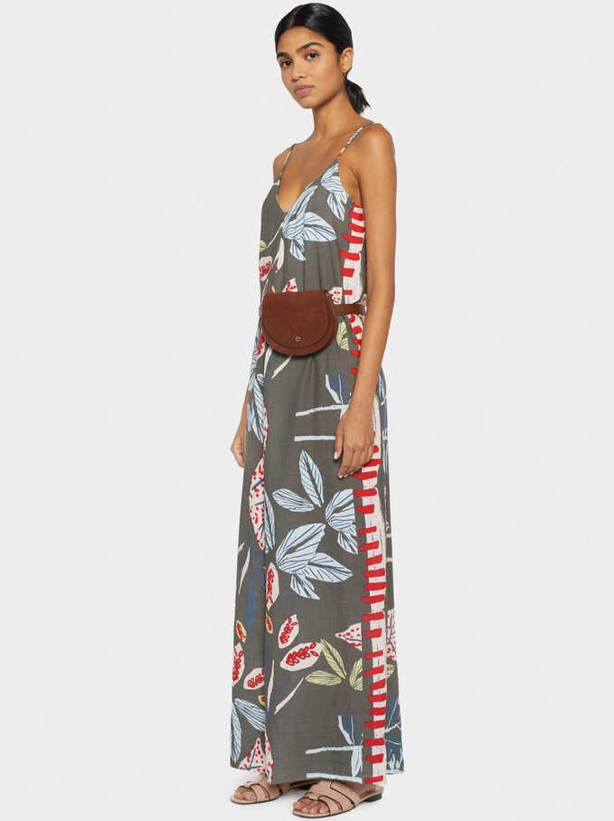 Floral Print Jumpsuit, Khaki, hi-res