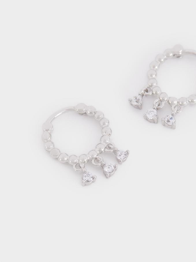 Stainless Steel Small Hoop Earrings, Silver, hi-res