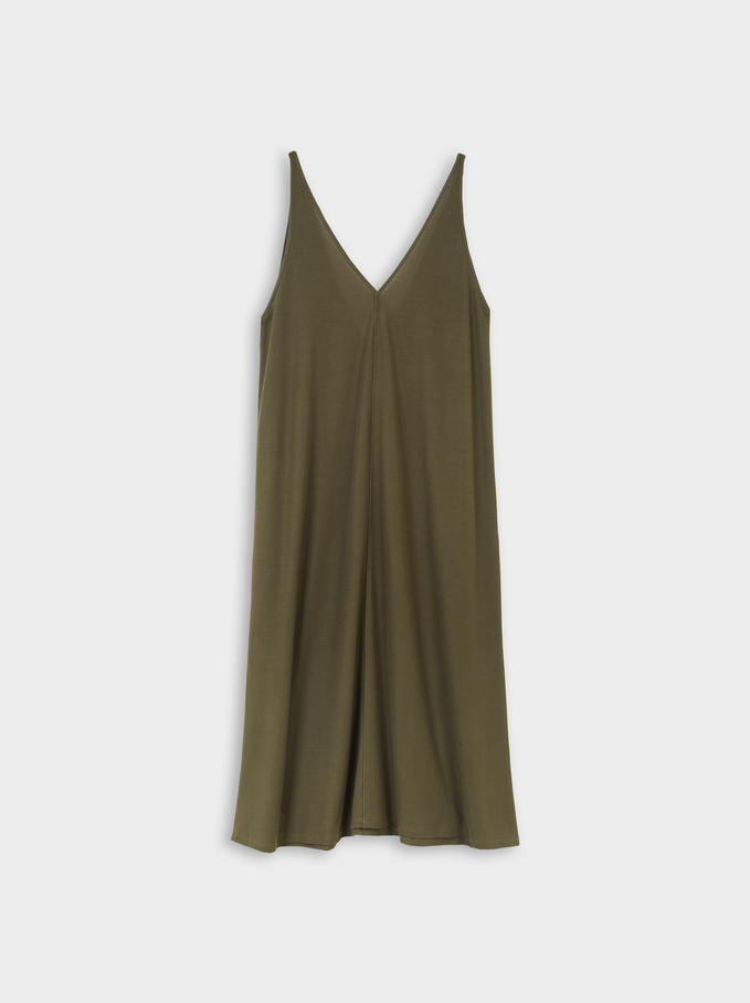 V-Neck Dress, Khaki, hi-res
