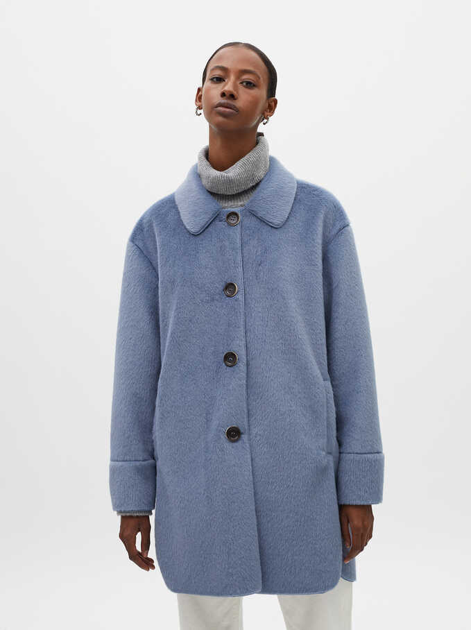 Button-Up Fake Fur Coat, Blue, hi-res