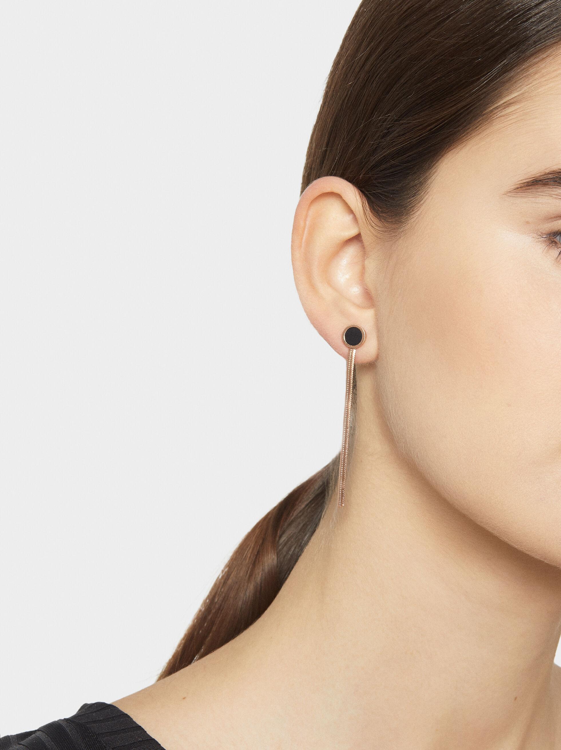 Two-Tone Steel Long Earrings, Orange, hi-res