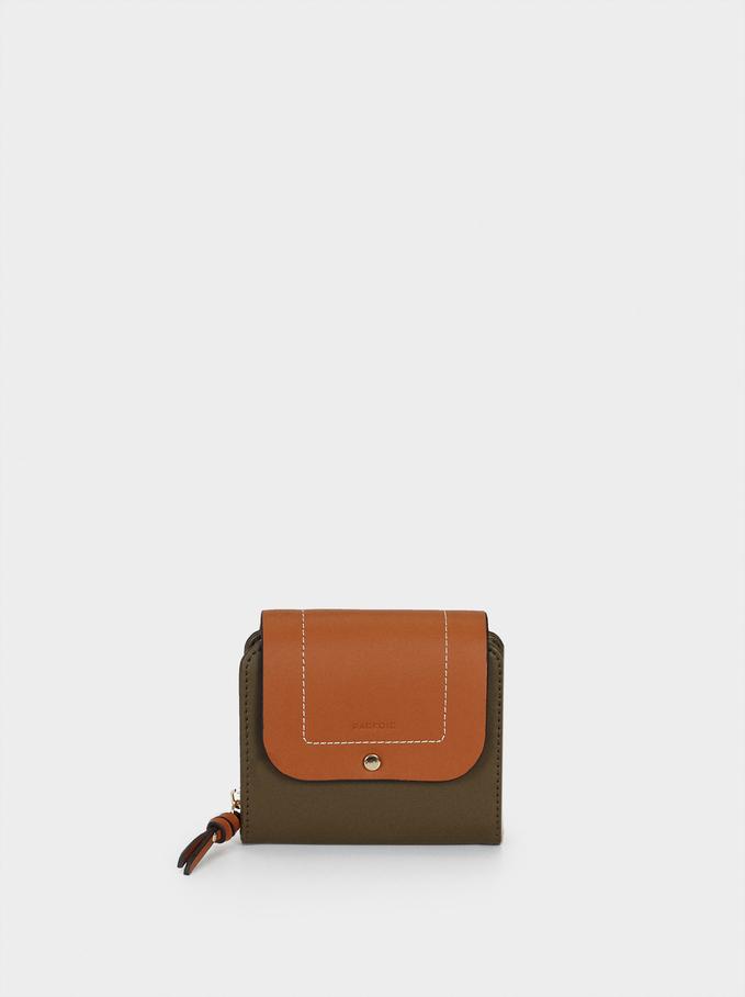 Compact Contrast Wallet, Khaki, hi-res