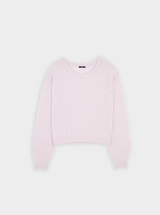 Round-Neck Knit Sweater, Violet, hi-res