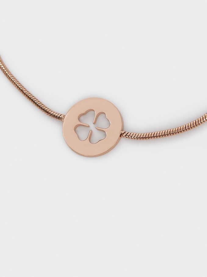 Adjustable Stainless Steel Bracelet With Cloverleaf, Orange, hi-res
