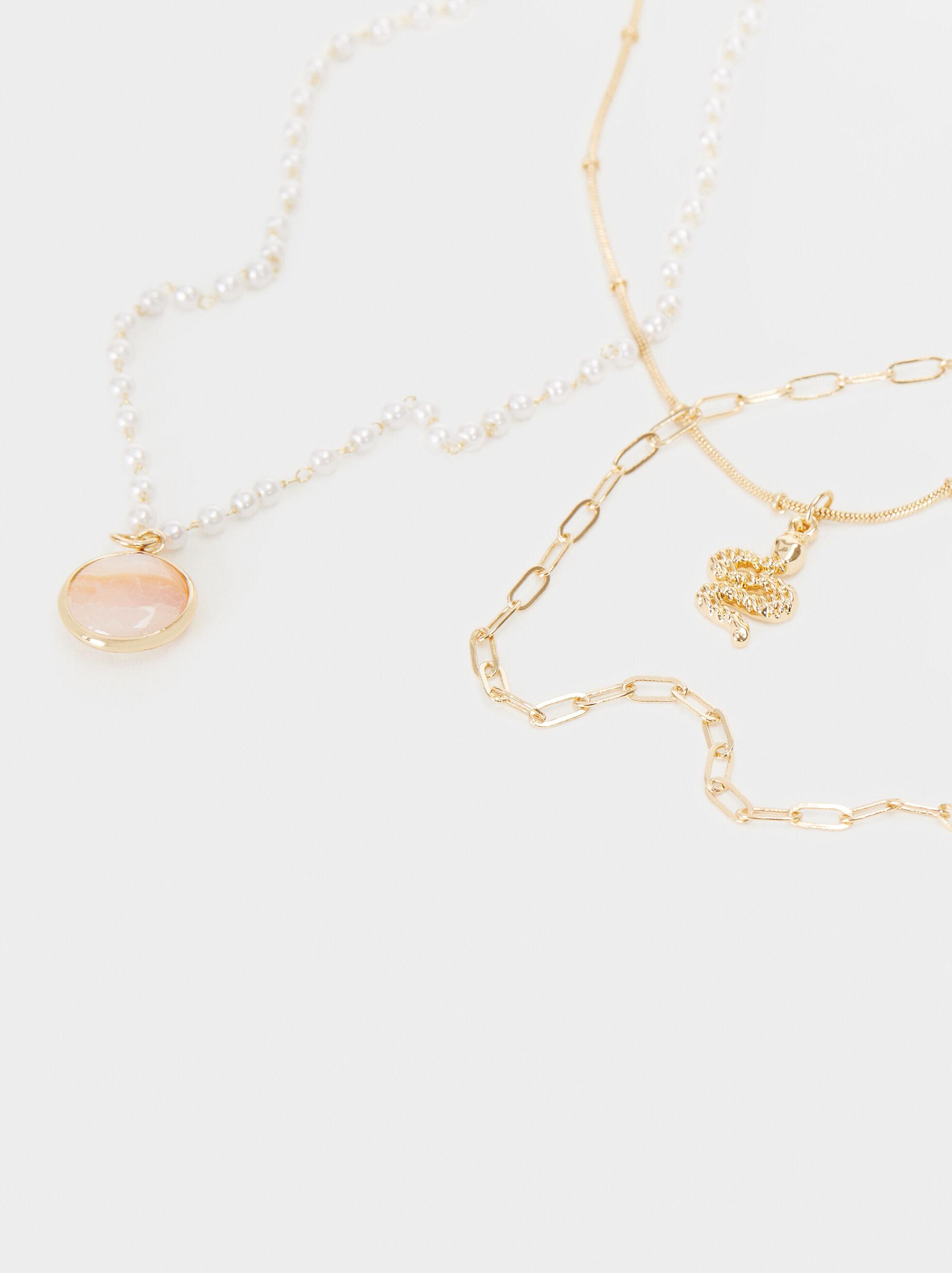 Petrified Necklace Set, Pink, hi-res