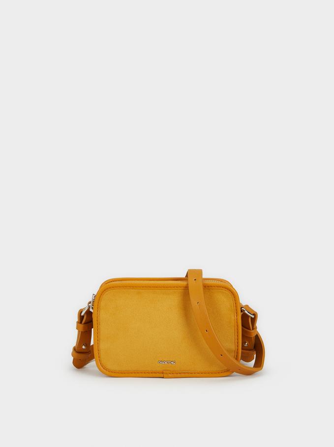 Suede Texture Crossbody Bag, Mustard, hi-res