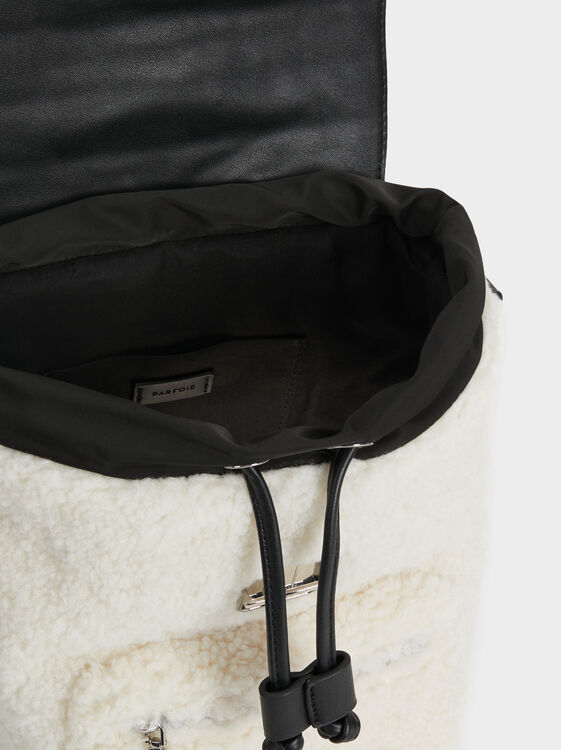 Furry Backpack, White, hi-res
