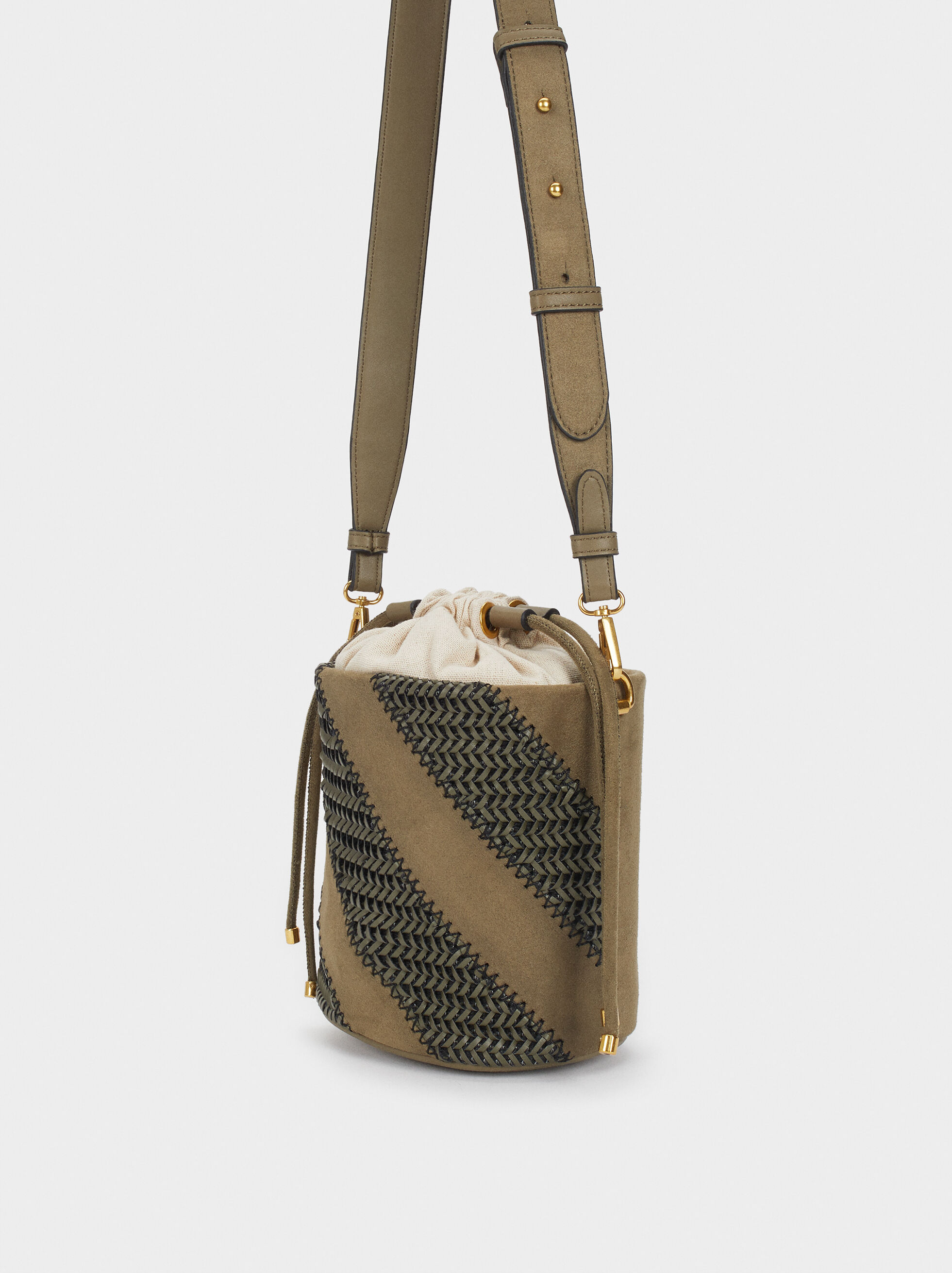 Braided Handbag, Khaki, hi-res