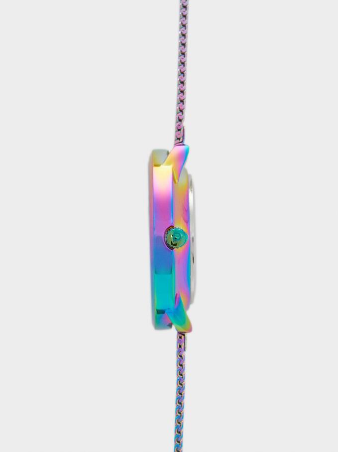 Watch With Steel Mesh Strap, Multicolor, hi-res